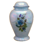 Darlene Infant Urn - Blue with Blue Rose