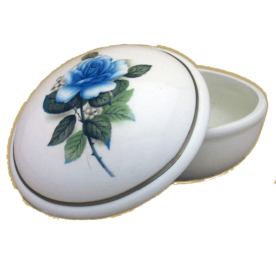 Serena Memory Box – Ivory With Blue Rose