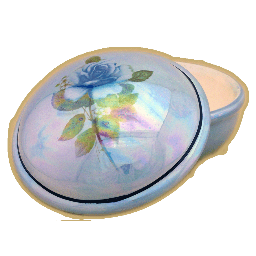 Darlene Round Memory Box – Blue With Blue Rose